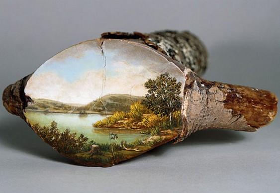 Pintura em toco de madeira