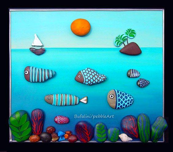 Painel com peixinhos coloridos