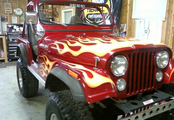 Jeep flames
