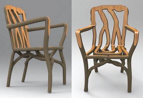Árvore modelada como cadeira