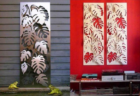Painel com folhas de aço