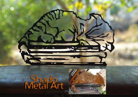 Retrato de animal de estimação em chapa de aço