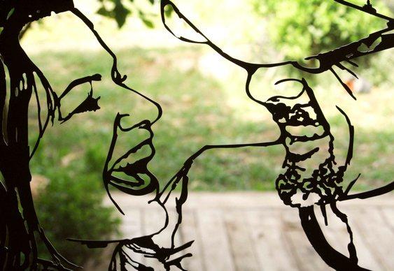 Retrato de casal em chapa de aço