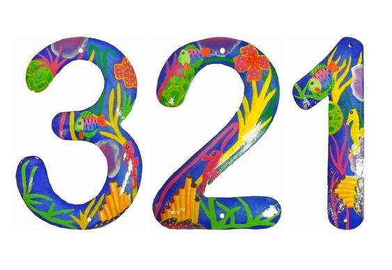 Números com pintura de mergulho
