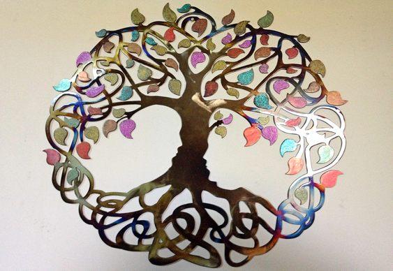 Árvore da Vida de metal colorido