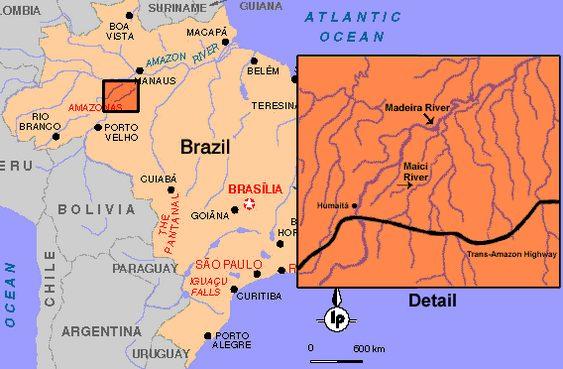 Localização dos índios pirahã
