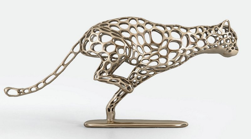 Guepardo esculpido em metal