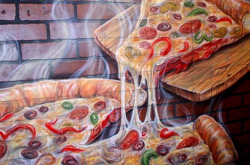 Painel artístico para pizzaria