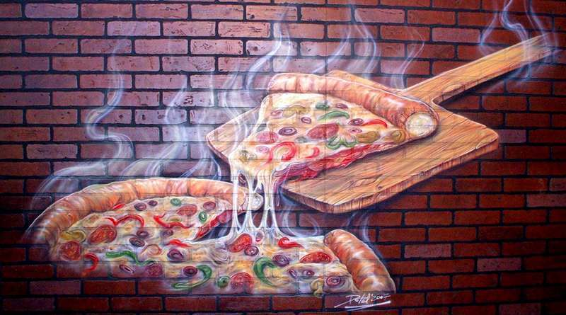 Painel 3D com pizza