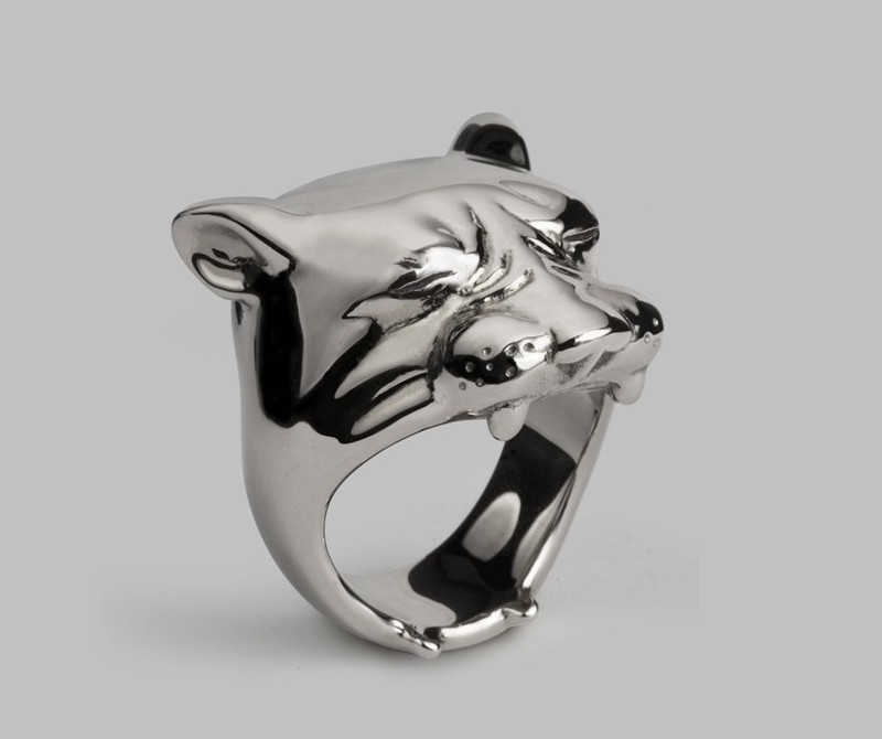 Anel de prata animal