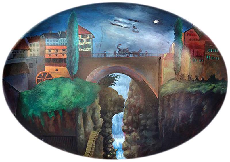 Pintura artística em placa de letreiro
