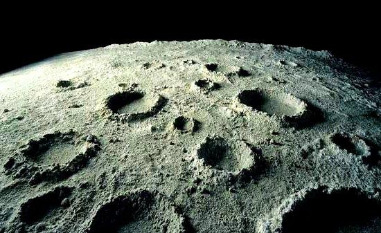 Crateras na superfície da Lua
