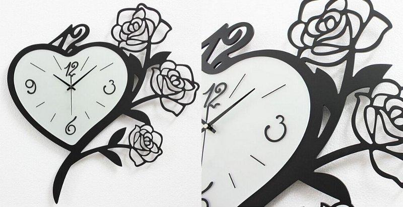 Relógio com moldura de rosas