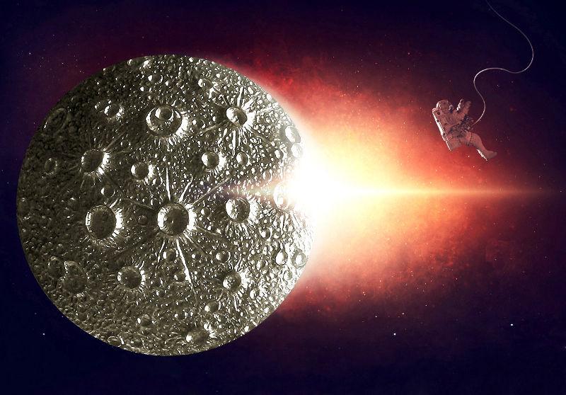 Bijuteria com crateras da Lua em alto-relevo