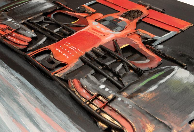 Escultura de carro de corrida F1