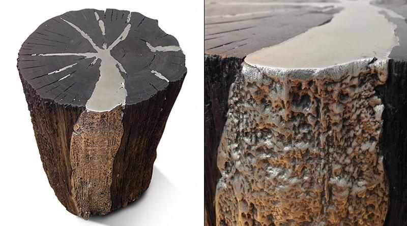 Móvel feito com tronco de árvore queimada