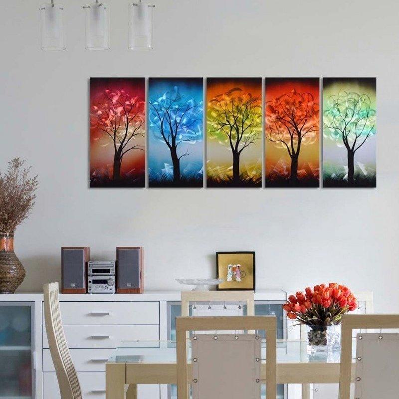 Painel holográfico com paisagem de árvores