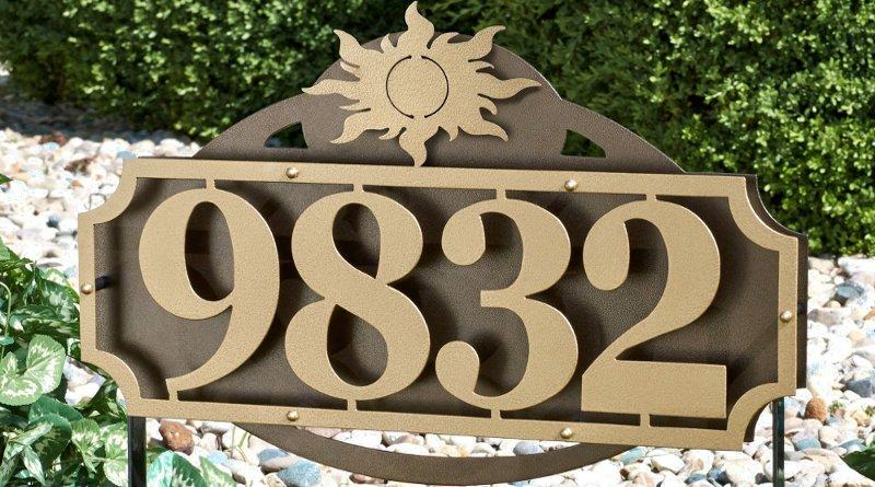 Placa chique de metal para endereço