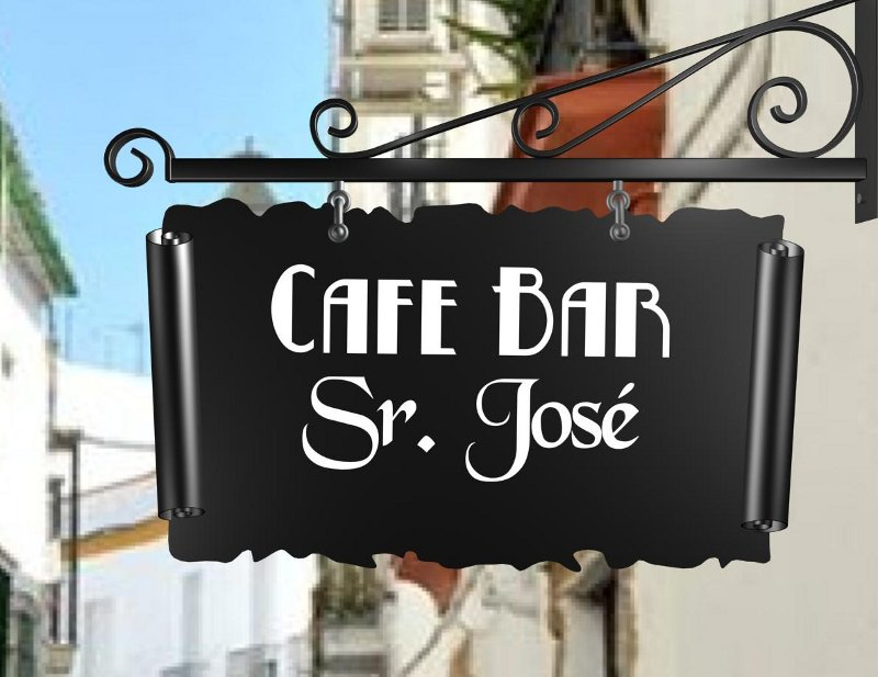 Placa para fachada de cafeteria